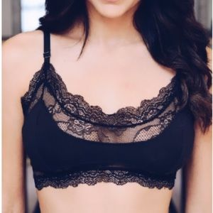 leto collection lace wireless bralette black bra